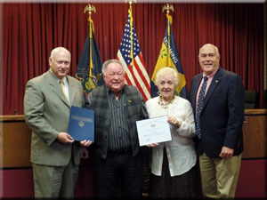 Left to Right: Arnie Kriner, Russell Reitz, Marie Reitz and State Representative Jeff Wheeland