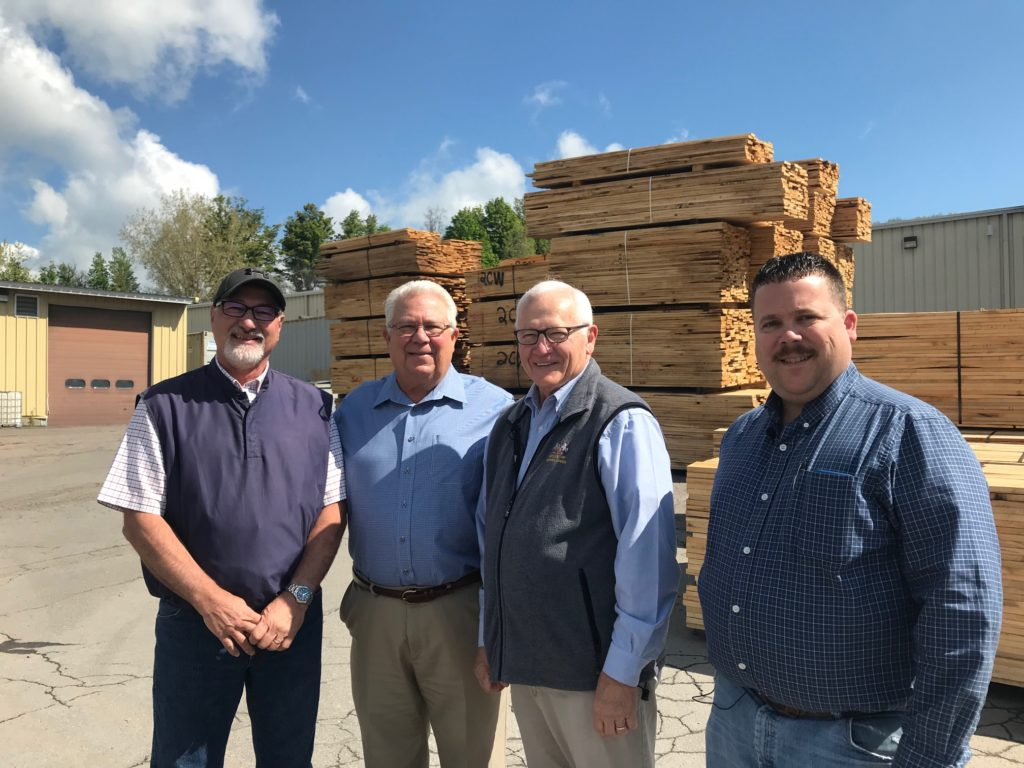 L to R: Norm Steffy, Vice President of Cummings Lumber Co.; Roy Cummings Jr.; Sen. Yaw and Scott Cummings, President, Cummings Lumber Co.